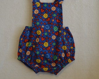 Baby Romper, Vintage Style Sunsuit, Baby Overalls, Size 12 Months  Ready to ship