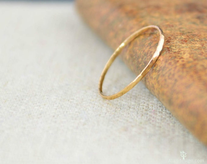 Solid 14K Rose Gold Super Thin Stacking Ring, Minimal Gold Ring, Rose Gold Ring, Solid Gold Ring, 14k Rose Gold Ring, Real Gold Ring