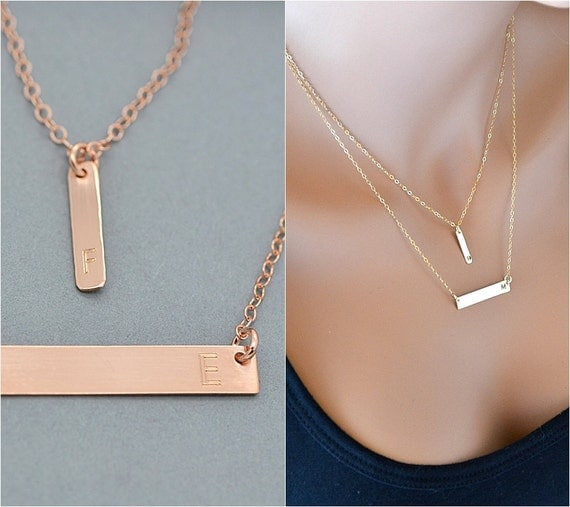 Rose Gold Bar Necklace Layered Necklace Initial Necklace