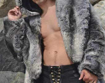 "Burning Man Men's Vandal Faux Fur coat with zip off hood in ""Silver Fox"""