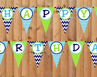 Whale Happy Birthday Banner- INSTANT DOWNLOAD - Printable Party Decorations
