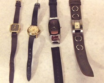 LOT OF 4 Vintage Ladies Watches, Timex, Pulsar, DKNY, Leather or Rubber Bands