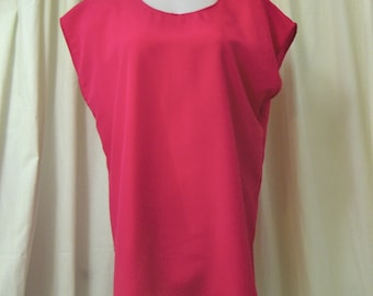 VINTAGE 1990's Hot Pink Silkie Tunic Blouse w/Scoop Neck, Sleeveless, Size Medium