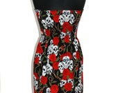 SKULL ROSE DRESS uk 8-12 (red, black, ladies, womens, dress, handmade, limited edition, day of the dead, halloween, goth, retro)