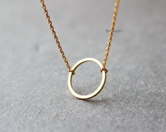Eternity circle necklace in gold, Bridesmaid jewelry, Everyday necklace, Wedding necklace