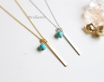 Vertical bar with turquoise charm necklace in gold, Simple, Minimalist, Bridesmaid gift, Everyday necklace, Wedding necklace