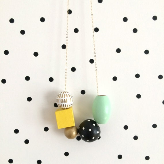 Yellow, Mint & Gold Wooden Bead Necklace