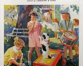 1935 Children Playing On Summer Day - Country Gentlewoman - F Sands Brunner Art - Magazine Illustration - Nursery Art Print