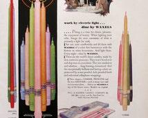 1930 Waxels Candles Ad - Will & Baumer Candle Company - 1930s Romantic Dinner - Vassar, Princess, Mayfair Candles - Genasco Latite Shingles