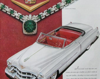 1953 Cadillac Convertible Ad - Harry Winston Emerald Necklace - 1950s Classic Car Advertising - Vintage Advertising Print