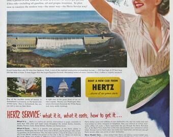 1953 Hertz Ad - Smart Travelers Use Hertz Rental Car Ad - Grand Coulee Dam - 1950s Retro Travel Advertising