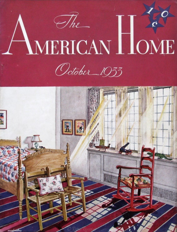 1930s Red White Blue Bedroom Design Ideas 1933 American Home Magazine Cover