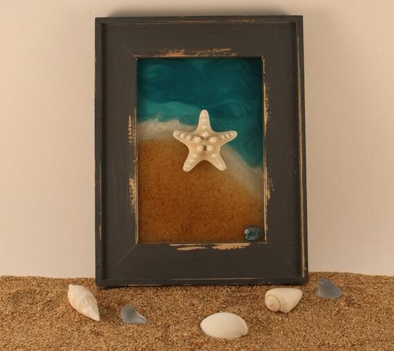 Items similar to unique gift beach decor resin art for Beachy decor items