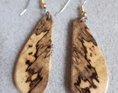 Unique Spalted Hackberry Exotic Wood Dangle Earrings ExoticWoodJewelryAnd handcrafted ecofriendly