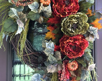 Autumn Wreath, Fall Wreath, Front Door Wreath, Peony Wreath, Elegant Wreath, Grapevine Wreath
