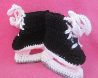 Handmade Crocheted Baby's Ice Hockey Skate Lace- Up Booties/Christmas Gift/ Baby Shower Gift/Stocking Stuffer