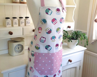 Owls Ladies' Apron, Owls and Pink Dotty Apron, Adjustable Full Apron, Women's Apron