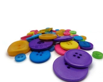 15 coloured buttons, bright button mix, sewing supplies, knitting supplies, craft buttons, craft supplies, colourful buttons