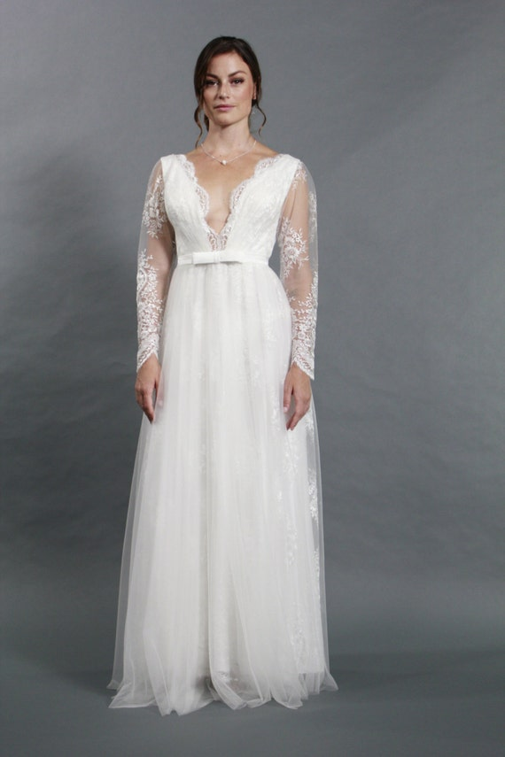 Sexy deep v neckline long sleeves lace a line wedding dress for Wedding dresses for large breasts