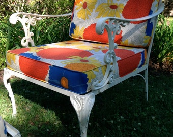 Mid century outdoor chair and ottoman,outdoor furniture,outdoor lounge,patio furniture,garden,deck