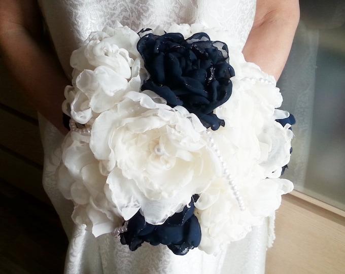 READY to SHIP Fabric Bouquet Shabby Chic Wedding Bridal Pearls handmade flowers creme ecru dark navy blue royal blue satin handle