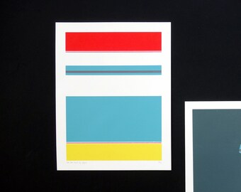 Handmade 3 Color Screenprint Grey Floater Stripes, limited edition
