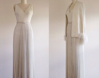 Simple wedding dress- White wedding dress- Glamorous wedding- Designer bridal- Evening gown- A line wedding dress- 70s wedding dress- Small