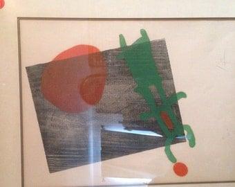 Rare 1958 Miro color woodcut