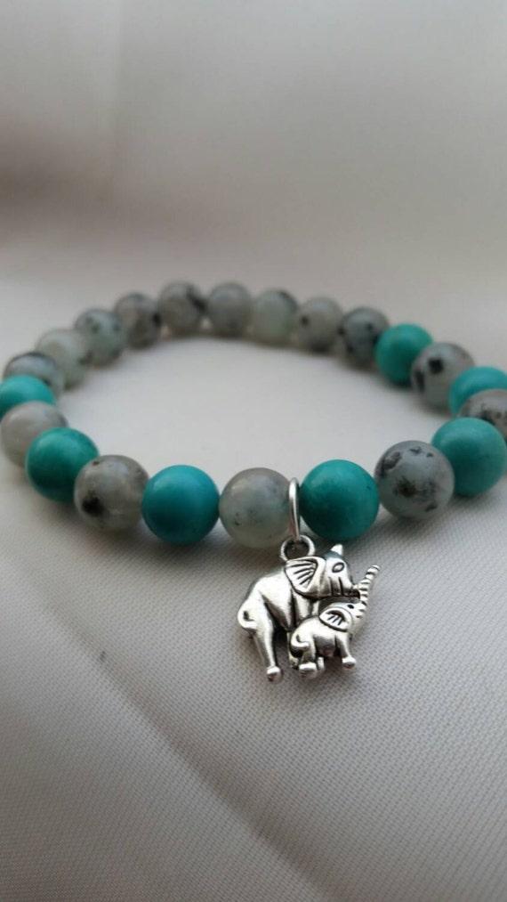 Mama Love: Reiki Attuned Turquoise and Lotus Jasper Healing Bracelet