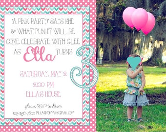 5x7 Pink and Teal Birthday Party Invitation w/ Photo - PRINTABLE