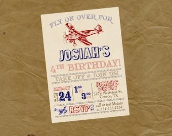 Airplane Birthday Party Invitation - Vintage Biplane Invite - Digital or Printed