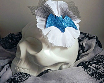 White Floral Fascinator with Hand-cut Teal Bat