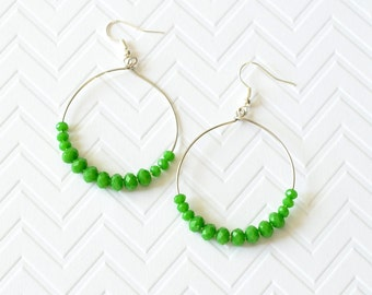 Green earrings, Large hoop earrings, dangle earrings, crystal earrings, Boho earrings, Gifts for her, Hoop earrings, Fashion jewelry,