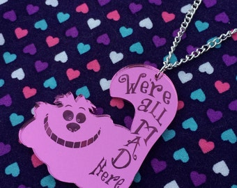 Pink We're All Mad Cheshire Cat Acrylic Necklace