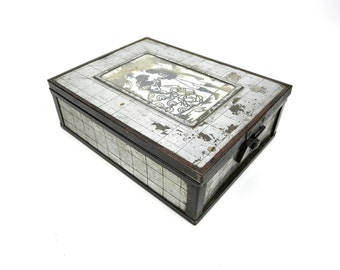 Vintage Jewelry Box French Style w/ Mirror Wooden Lined With Metal Checkered Panels Sheets Silver Metal Wooden Chest Retro Old Trinket Case