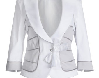 White and gray blazer