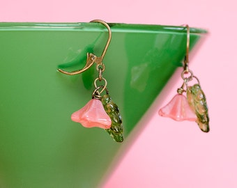 Flower Earrings Dangle Earrings Pink Glass Flower Earrings Spring Blossoms Nature Jewelry Watermelon Pink Flower Jewelry Gifts for Her