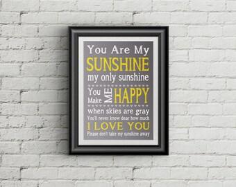 You Are My Sunshine Nursery Print My Only Sunshine Childrens Wall Art Playroom Decor Kids Room