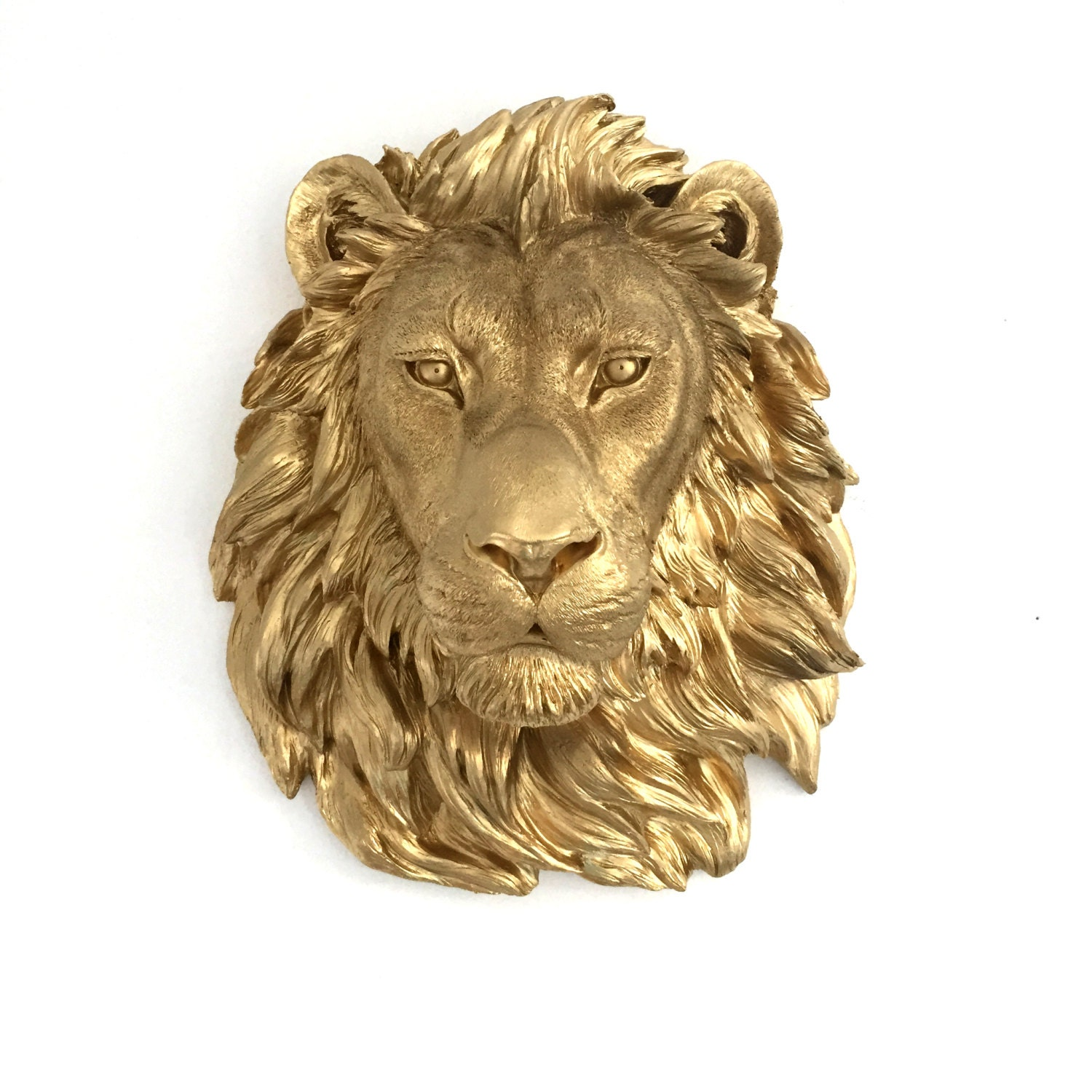 Any Color Or Gold Lion Head Wall Mount Faux Taxidermy 3d