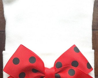 Red and Black Bow Newborn Hospital Hat - Newborn Bow Hat - Polka Dot Hat - Baby Girl Hat - Newborn Baby Girl Hat - Hospital Newborn Hat