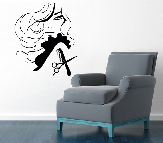 Hair salon wall decals girl face hairdressing beauty salon for Stickers salon