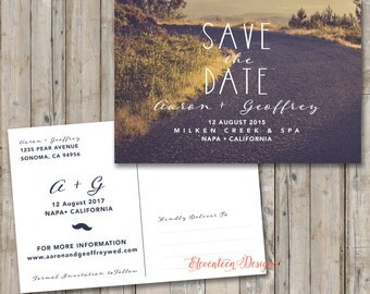 Save the Date Card, Save the Date Printable Postcard, Rustic Save the Date Photo Postcard, Photo Save the Date