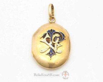 Antique Victorian Monogram Locket Pendant Guilloche Blue Enamel 14k Yellow Gold Art Nouveau Elegant Jewelry Edwardian