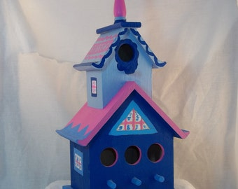Large Hand Painted Blue Chapel Style Birdhouse