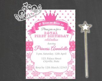Princess invitation birthday party pink white party printable digital file printable royal princess