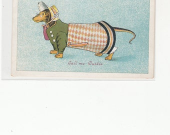 """Dachshund Lady From England """"You Can  Call Me Duckie"""" Lovely Outfit Antique Postcard 1910"""