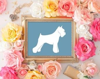 Schnauzer Print - 8x10 Printable Art, Dog Art, Schnauzer Art, Dog Decor, Wall Art, Dog Print, Dog in Art, Dog Silhouette, Blue