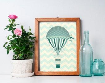 Hot Air Balloon Decor - 8x10 Nursery Decor, Nursery Art, Hot Air Balloon Print, Home Decor, Printable Art, Wall Art
