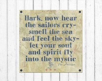 "INTO THE MYSTIC, Van Morrison Lyrics/Quote, Nautical, Coastal Retreat Decoration, Framed Canvas (30"" x 30"" x 1.5"") or (24 x 24 x 1.5)"