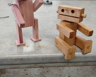 Eco- Friendly Reclaimed Scrap Wood Robot Toys